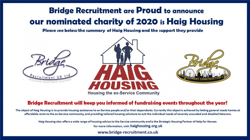 Bridge Recruitment are Proud to announce that our nominated charity of 2020 is Haig Housing