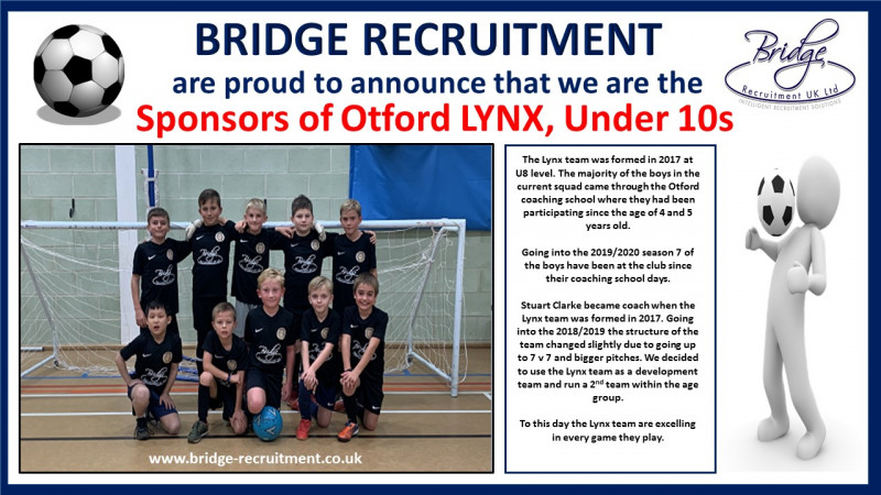 Bridge Recruitment are proud to announce that we are the sponsors of Otford LYNX, Under 10s