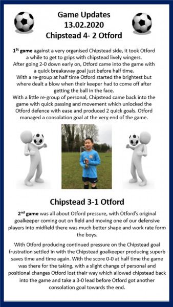 Otford Under 10s – Game Updates 13/02/2020